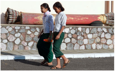 School girls at the National Museum in Yangon